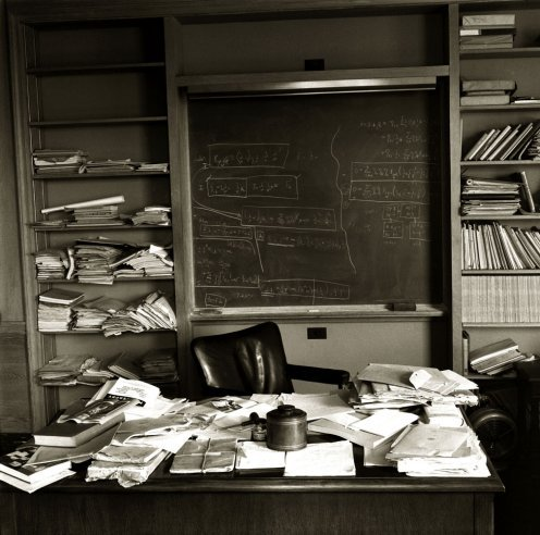 The Day Einstein Died: A Photographer's Story Albert Einstein's office — just as the Nobel Prize-winning physicist left it — taken mere hours after Einstein died, Princeton, New Jersey, April 1955.Read more: http://life.time.com/history/the-day-einstein-died-a-life-photographers-story/#ixzz1sRfF8c5H
