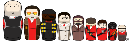 Yes, this is what the world needs. TF2 Nesting Dolls. Edit: Correct Sizes, thank you red-tentaspy for the height chart.