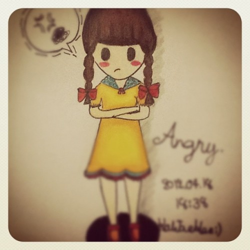 I'm angry now!!!! #pic#cartoon#drawing#girl#angry#photography#art#love#bad#cute#KaTHEeNiM#color (Taken with instagram)