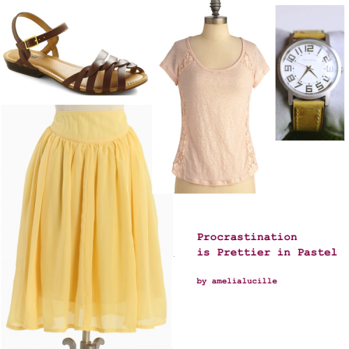 241 [amelialucille] Procrastination is Prettier in Pastel (aka, She's Not Reading the Inferno) Pastel in Comparison Top - $24.99 Seaside Retreat Skirt - $38.99 Let's Twist Sandal - $68.99 Platform Leather Watch - $83.99