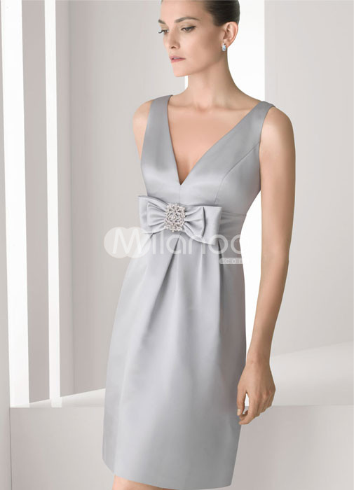 Silver V-Neck Knee Length Bow Waist Satin Bridesmaid Dresses :  knee length bridesmaid silver satin