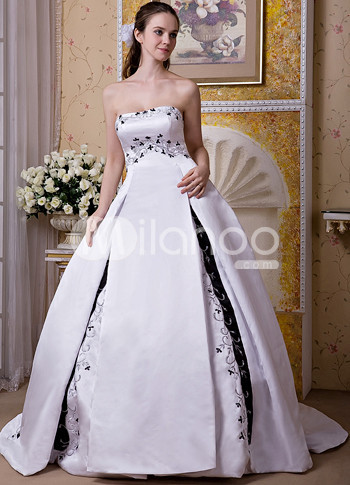 Black White Satin Embroidery Beading Strapless A-line Wedding Dress :  embroidery black aline wedding dress