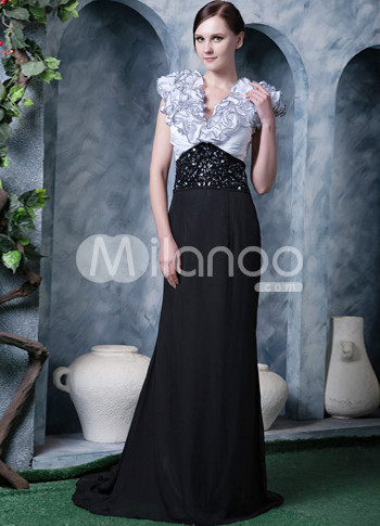 Black White Chiffon V-neck Beading Flowers Prom Dress :  flower black chiffon prom dress