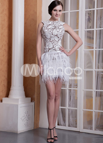 Sexy Brown Satin White Lace Ostrich Feather Sleeveless Short Cocktail Dress :  lace dress sexy short