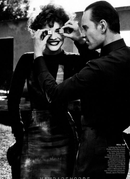 bohemea:  Natalia Vodianova & Michael Fassbender: Modern Times - Vogue by Craig McDean, May 2012  ME OH MY!