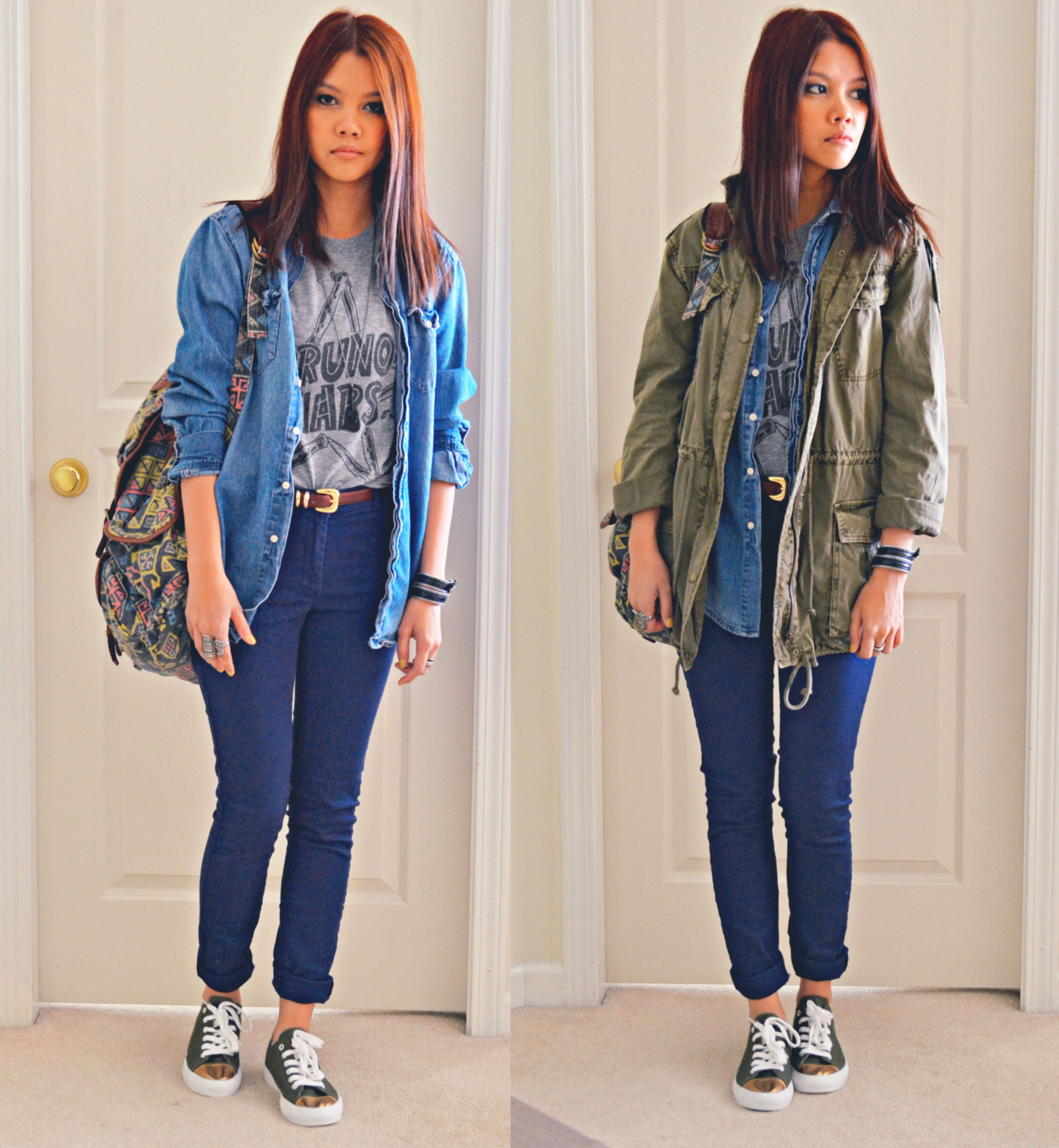 http://thatflipchic.tumblr.com OOTD: Parka Bruno Mars Shirt - from Bruno Mars concert Denim Shirt - H&M Parka - Aritzia Pants - H&M Shoes - XX1 Backpack - Urban Outfitters