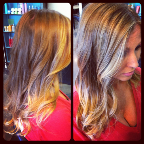 On her way to ombré! Talina came in last week with her natural locks wanting to start the ombre color process. This is the result after the 1st highlight and we will have her all the way there next time.. Ombré hair color is anywhere from a 2-4 color process depending on if your hair is natural or has existing color. Its a very low-maintenance color after you get to the desired contrast!