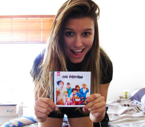 "I got a free CD for screaming ""One Direction"" :)"