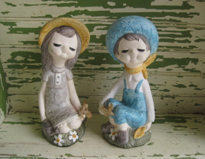 Vintage Girl & Boy Garden Figurines by corrnucopia