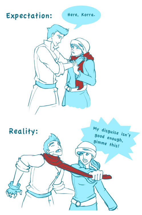 robinblake:  based on the whole korra wearing makos scarf. The first option is cuter, but i think the second is more in character XP.