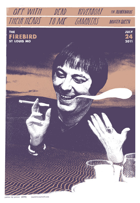 Off With Their Heads w/ Dead To Me, Riverboat Gamblers @ The Firebird, 7/24/11 Poster by Jason Potter
