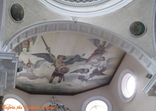 EXPLORER'S NOTEBOOK: Painting of Saint Michael the Archangel on the ceiling of Binondo Church, which is located in Manila, Philippines. I am sure that Lucifer is trembling whenever he see this painting. His terrible defeat is coming soon. Prayer to Saint Michael the Archangel O glorious Archangel Saint Michael, Prince of the heavenly host, be our defense in the terrible warfare which we carry on against principalities and powers, against the rulers of this world of darkness, spirits of evil. Come to the aid of man, whom God created immortal, made in His own image and likeness, and redeemed at a great price from the tyranny of the devil. Fight this day the battle of our Lord, together with the holy angels, as already thou hast fought the leader of the proud angels, Lucifer, and his apostate host, who were powerless to resist thee, nor was there place for them any longer in heaven. That cruel, that ancient serpent, who is called the devil or Satan who seduces the whole world, was cast into the abyss with his angels. Behold this primeval enemy and slayer of men has taken courage. Transformed into an angel of light, he wanders about with all the multitude of wicked spirits, invading the earth in order to blot out the Name of God and of His Christ, to seize upon, slay, and cast into eternal perdition, souls destined for the crown of eternal glory. That wicked dragon pours out. as a most impure flood, the venom of his malice on men of depraved mind and corrupt heart, the spirit of lying, of impiety, of blasphemy, and the pestilent breath of impurity, and of every vice and iniquity. These most crafty enemies have filled and inebriated with gall and bitterness the Church, the spouse of the Immaculate Lamb, and have laid impious hands on Her most sacred possessions. In the Holy Place itself, where has been set up the See of the most holy Peter and the Chair of Truth for the light of the world, they have raised the throne of their abominable impiety with the iniquitous design that when the Pastor has been struck the sheep may be scattered. Arise then, O invincible Prince, bring help against the attacks of the lost spirits to the people of God, and give them the victory. They venerate thee as their protector and patron; in thee holy Church glories as her defense against the malicious powers of hell; to thee has God entrusted the souls of men to be established in heavenly beatitude. Oh, pray to the God of peace that He may put Satan under our feet, so far conquered that he may no longer be able to hold men in captivity and harm the Church. Offer our prayers in the sight of the Most High, so that they may quickly conciliate the mercies of the Lord; and beating down the dragon, the ancient serpent, who is the devil and Satan, do thou again make him captive in the abyss, that he may no longer seduce the nations. Amen.  V: Behold the Cross of the Lord; be scattered ye hostile powers.  R: The Lion of the Tribe of Juda has conquered the root of David.  V: Let Thy mercies be upon us, O Lord.  R: As we have hoped in Thee.  V: O Lord hear my prayer.  R: And let my cry come unto Thee.  V: Let us pray. O God, the Father of our Lord Jesus Christ, we call upon Thy holy Name, and as suppliants, we implore Thy clemency, that by the intercession of Mary, ever Virgin, immaculate and our Mother, and of the glorious Archangel Saint Michael, Thou wouldst deign to help us against Satan and all other unclean spirits, who wander about the world for the injury of the human race and the ruin of our souls. Amen.