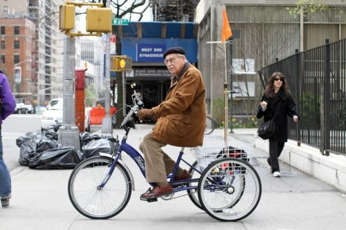 "humansofnewyork:  ""My story? Well I'm 90 years old and I ride this thing around everywhere. I don't see why more people don't use them. I carry my cane in the basket, I get all my shopping done, I can go everywhere. I've never hit anyone and never been hit. Of course, I ride on the sidewalk, which I don't think I'm supposed to do, but still…"""