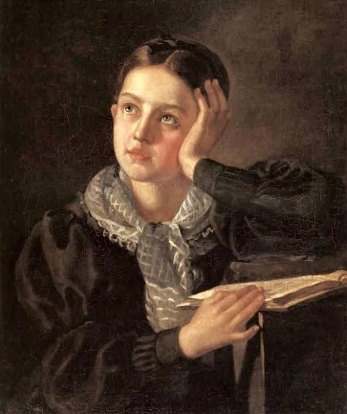 books0977:  Portrait of a Girl. Alexsey Tyranov (1808–1859, Russian). Early in his career Tyranov painted icons with his brother; he then traveled to St. Petersburg to study at the Academy, where he took lessons with Alexey Venetsianov. From 1836 he was a pupil of Karl Bryullov. Tyranov chiefly painted portraits and genre scenes; he exhibited at a number of venues in the city throughout the 1830s and 40s.