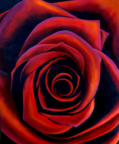 Red Red Rose - Oil on Canvas (by cindyleejones)