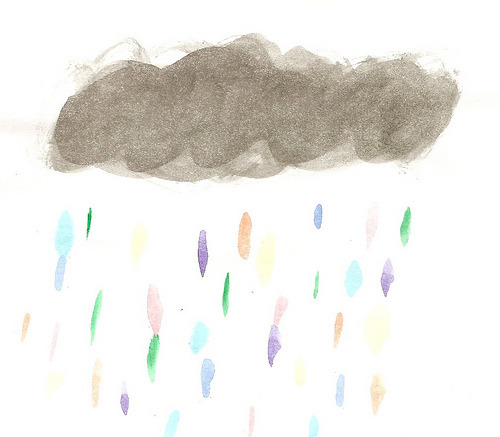 alliebuug:  what if clouds cried rainbow tears? (by 500daysofkara)