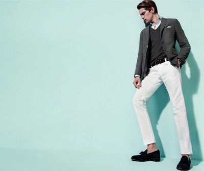 Guys: How to wear white pants. Mathias Lauridsen for Massimo Dutti, S/S 2012.