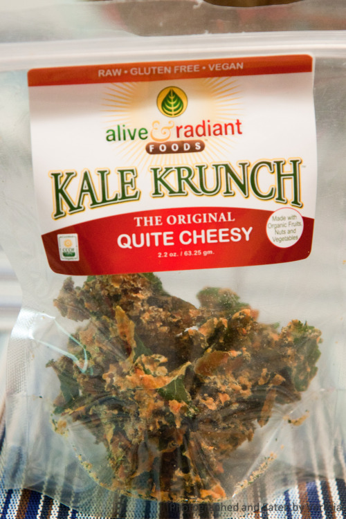 Kale Krunch, Whole Foods, San Mateo, CA It's vegan with no artificial flavoring. I don't know how they manage to make it really taste like cheese. Perhaps it's the chemical reaction between cashew and kale?