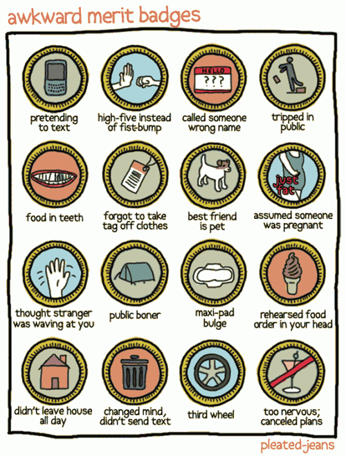 I've earned all of these merit badges.  Many times. TDW