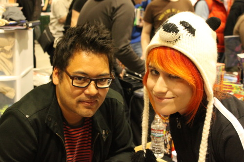 laurakvstheworld:  this is me and bryan lee o'malley I'm kim pine here he said I looked really good!