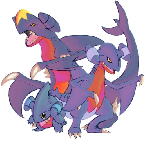 paperscizorsrock:  Garchomp, Gible and Gabite by ~DragonicDarkness