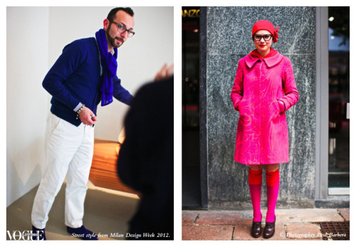 Electric blue and fuschia outfits caught our attention on Tuesday and Wednesday of Milan Design Week. Photograph by Paul Barbera.