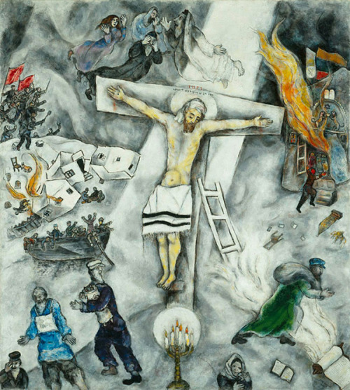 theothergayscott:  The re-imagining of the crucifixion in light of the sufferings of the Jewish people. Marc Chagall's White Crucifixion  I do love me some Chagall.