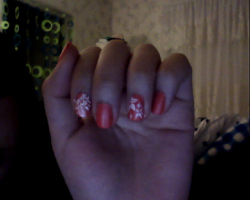 matte salmon pink with lace and flowers :)