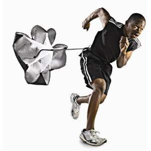 Bad Ass Tools For Fit Freaks:  Speed Resistance Training Parachute  Who's it for? Runners, sprinters, athletes & anyone looking to boost power & speed. Cost: $20-$30 What it does: The speed parachute adds resistance to your sprints, improves your stride, boosts acceleration & powers up your runs! The chute fills with air as you accelerate forward, adding about 15-30lbs of resistance (depending on speed). The design is light, compact and simple, allowing the user to move freely without sacrificing form. It's designed to use during short, fast sprints: this isn't a tool for long runs. Pros: Lightweight, portable, adjustable & very affordable. Great tool for instructors/CPT's. Cons: Looks a little ridiculous if you're using it solo, but hey, it's ALL in the attitude. I know I'd be impressed watching someone run sprints with a parachute. :)