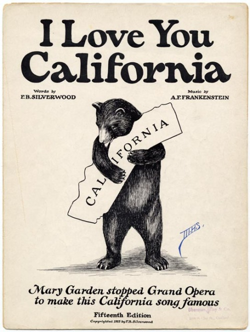 "1913 cover for ""I Love You California"" sheet music (Yes, I do love you)"