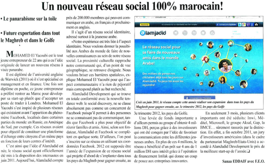 Journal L'Economiste du 19 Avril 2012