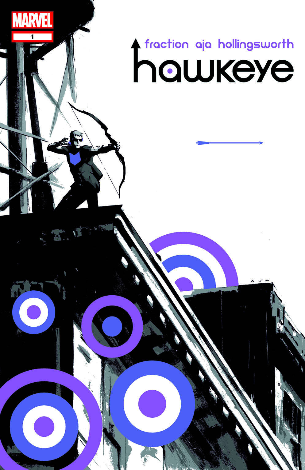 Marvel announced a new Hawkeye ongoing series, written by Matt Fraction and David Aja (a team that worked so well on the excellent Immortal Iron Fist). The covers are also by Aja, and they are such beautiful pieces that I'm going to post the first three in succession. This is the cover to the first issue.