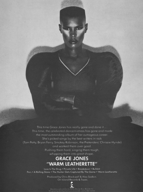 Still a great album … Grace Jones, Warm Leatherette, 1980.