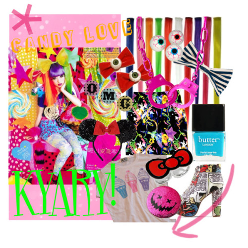 Kyary Pamyu Pamyu by katy-kamikaze featuring Hello Kitty ringsASOS necklace, $45Hello Kitty ring, $25Hair accessory, $20American Apparel hair accessory, $14Hair accessory, £7.50Disney hair accessoryButter London nail polish, $14Smily Lame Can Badge (Small), $4.8720 Piece Superball Eyeballs in Decorations Party SuppliesWhite and Pastel Ice Cream Print TShirt by imyourpresent on Etsy, $26Galaxy Nebula Skirt women bandage skirt by coyotepeyote, $25OMG Badges, $7.50