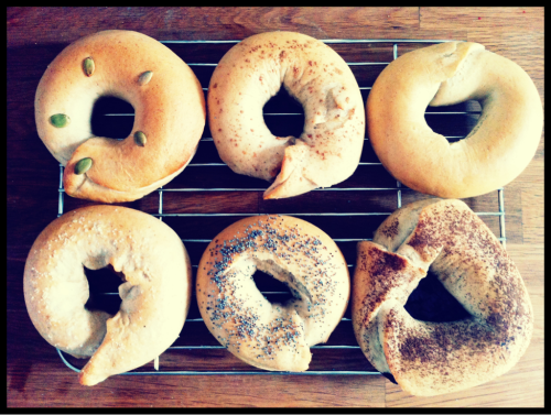 "My home baked ""bagels"" :) Flavored different each!  My favorite is of course… Organic Chocolate!!"