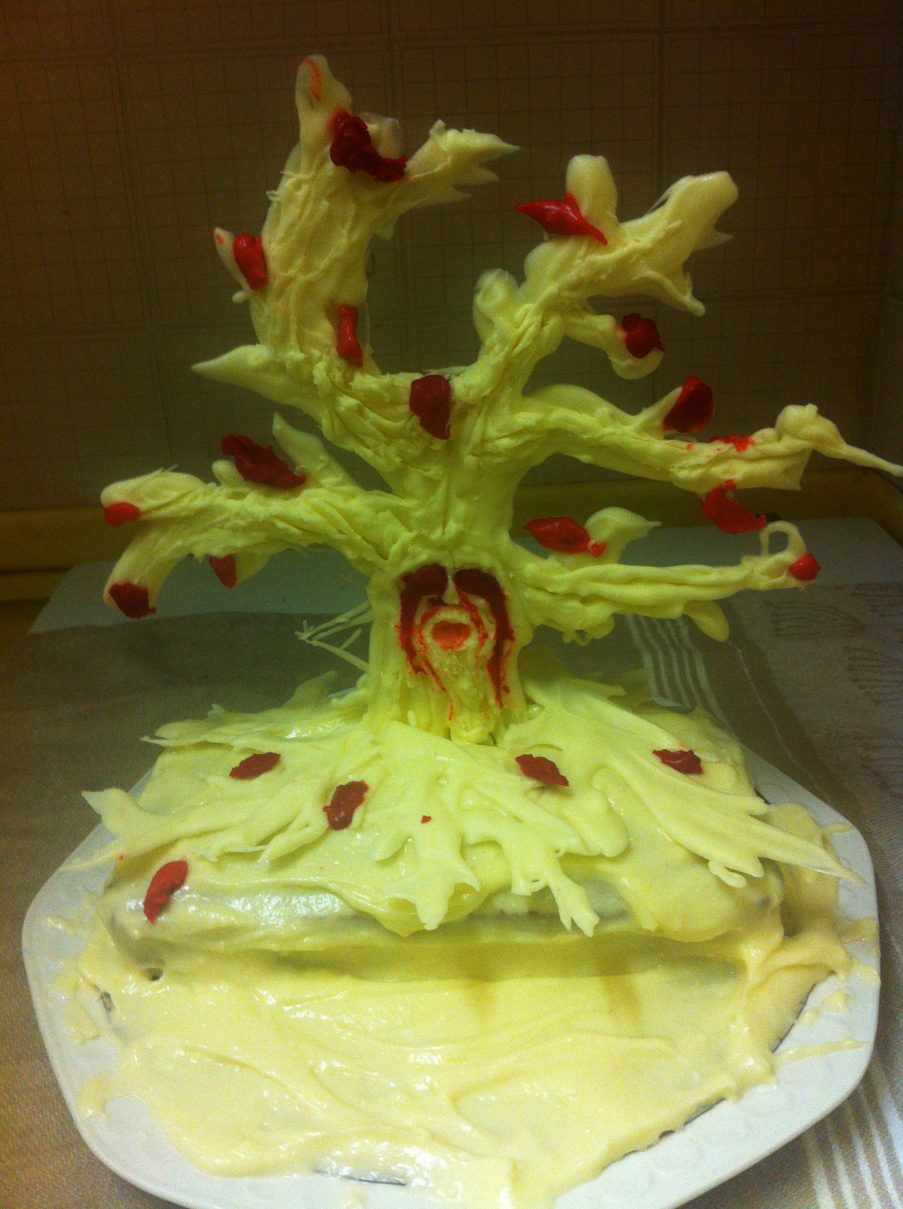 This is my red velvet and white chocolate Weirwood cake, because I am of the North and still pray to the Old Gods.