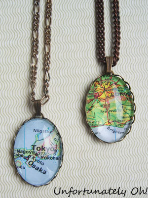 truebluemeandyou:  DIY Jewelry for Beginners Map Pendant. Super easy tutorial from Unfortunately Oh! here.