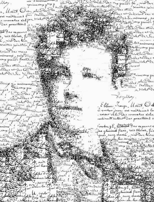 "visual-poetry:  ""manuscript self portrait of arthur rimbaud"" by sergio albiac (thank you very much for the mention! @sergioalbiac)  Manuscript self portrait of Arthur Rimbaud (1854-1891), by Sergio Albiac - Portrait of the french poet using one of his manuscript poems. Generative calligraphic collage. Facebook Page If you like calligraphic portraits (with a different technique) you should check the wonderful work of Anatol Knotek  (via sergioalbiac)"
