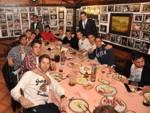 Real Madrid Castilla having lunch together.
