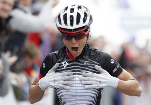 Team Specialized Lululemon rider Evelyn Stevens of the U.S. celebrates as she wins the women's Fleche Wallonne Classic cycling race in Huy April 18, 2012. (via Photo from Reuters Pictures)