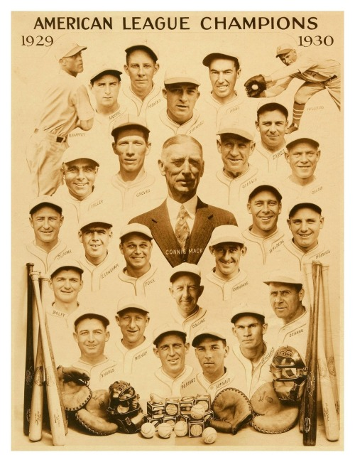 "1929-30 Philadelphia A's Team Composite Here's a huge new composite of the 1929-30 A's. Oddly the poster calls them the ""American League Champions"" (which is true). You'd think they'd rather mention that they were the ""World Champions"" because of their winning the 1929 & 1930 World Series."