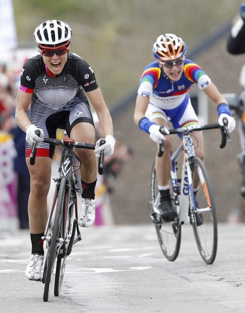 Team Specialized Lululemon rider Evelyn Stevens of the U.S. sprints to win the women's Fleche Wallonne Classic cycling race in Huy April 18, 2012. (via Photo from Reuters Pictures)
