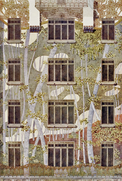 booksnbuildings:  Project for an apartment house facade, architect Hans Schlechta 1901 Schlechta was a pupil of Otto Wagner. There is a wonderful, richly illustrated volume of Wagners' pupils' works published by Walter Zednicek, chronicler of Viennese art nouveau architecture.