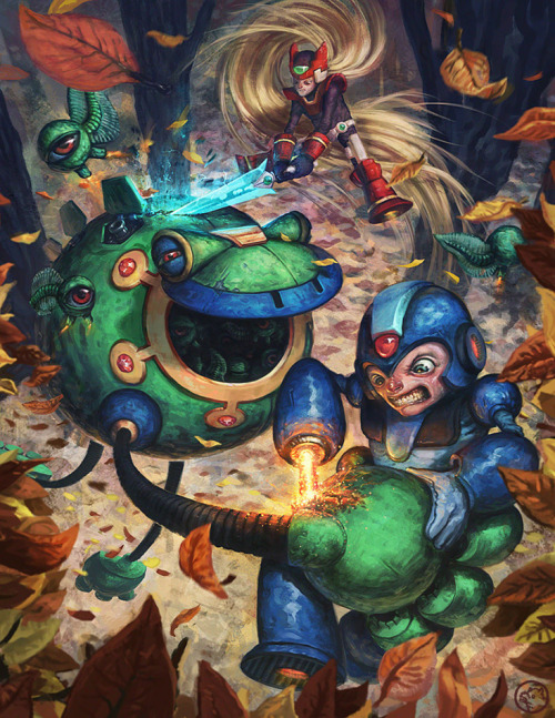 Mega Man and Zero take down Burble Hekelot in this cool tribute piece to the Mega Man universe!  You can check it out in the UDON gallery or order yourself an awesome book containing some more fantastic pieces of Mega Man fan art.  Available for preorder now. Burble Hekelot by Barth Schwein Via: nerdwire