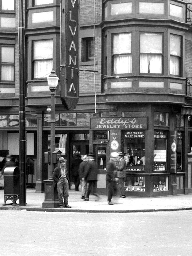 Eddy's, Carrall & Hastings, 1927 Source: Detail from William Stark photo, City of Vancouver Archives #Hot N34