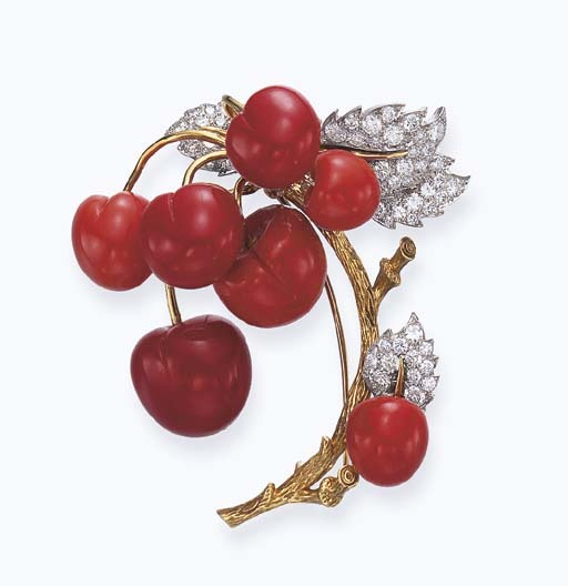 omgthatdress:  Coral and Diamond Brooch Tiffany & Co. Christie's