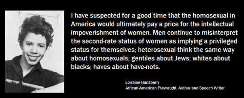 LGBTQ* Quotes and Quips  Lorraine Hansberry (you can read more about her HERE)  * African-American Playwright, Author and Speech Writer * Most known work: A Raisin in the Sun