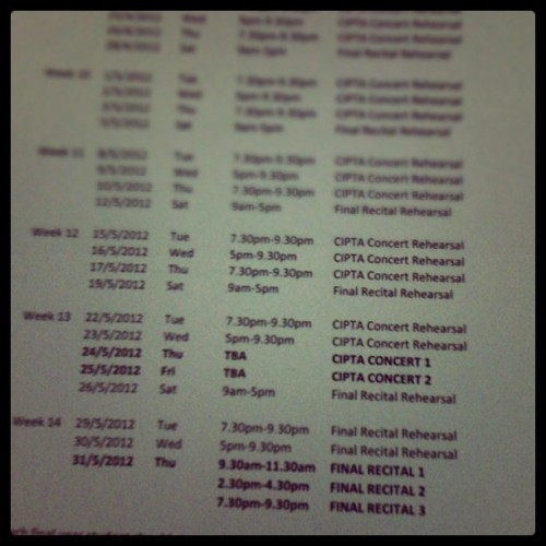 Finally, schedule coming out..#music #practice #ciptaconcert #recital (Taken with instagram)