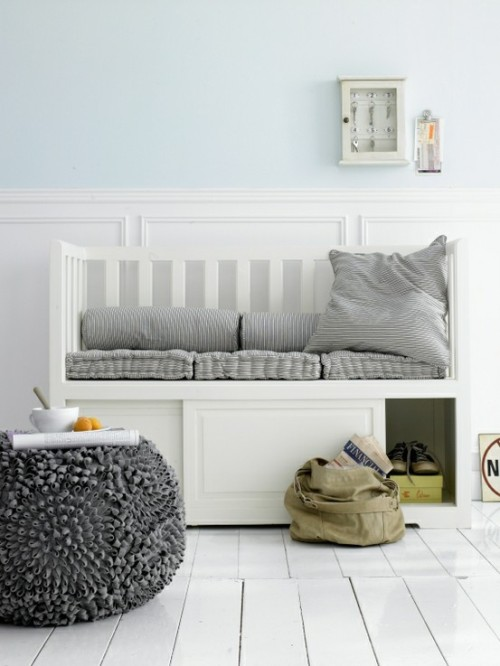 firsthome:  it's perfection! i want that daybed, ottoman, wall color, wooden floors painted white, wainscoting