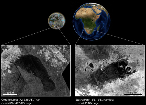Far-off cousin of part-time African lake found on Titan Ontario Lacus is Titan's largest lake in its southern hemisphere. It is an ephemeral lake that resembles Etosha Pan in Namibia, Africa. On Titan the liquid is made of hydrocarbons, whereas on Earth it is made of water. Credits: Cassini radar image JPL/NASA. Envisat radar image ESA. Composite image: LPGNantes. (details)